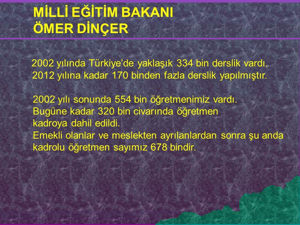 2002 yılında Türkiye'de yaklaşık 334 bin derslik vardı. 2012 yılına kadar 170 binden fazla derslik yapılmıştır. 2002 yılı sonunda 554 bin öğretmenimiz