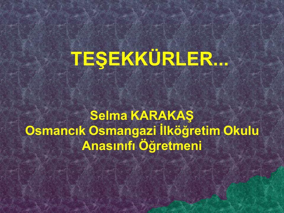 TEŞEKKÜRLER... Selma KARAKAŞ Osmancık Osmangazi İlköğretim Okulu Anasınıfı Öğretmeni