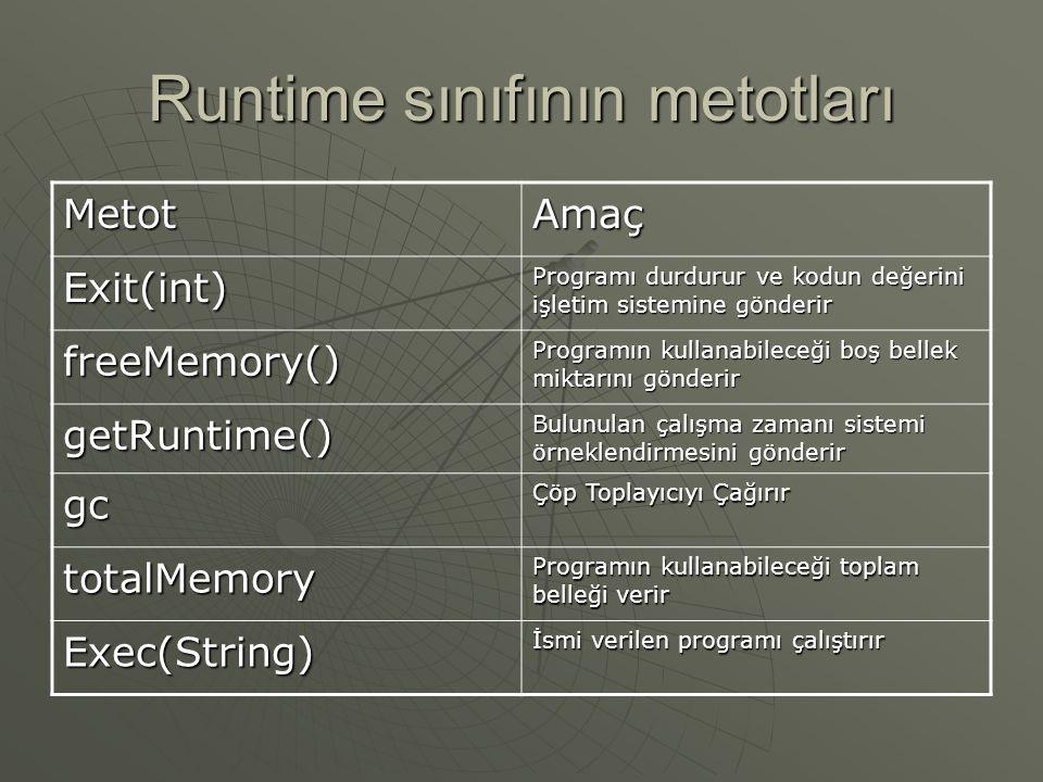 Runtime Sınıfı  Bellek yönetimi ve ek işlemlerin çalıştırılması için kullanılır.  Her java programının bu sınıftan bir örneklendirmesi vardır.  Uyg