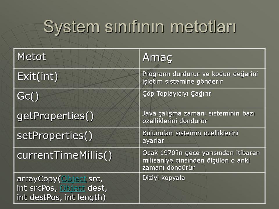 System sınıfı  System sınıfı, standart giriş/çıkış (i/o) ve hata akımları gibi olanaklar sunar.  Java çalışma zamanı sistem ile ilgili özelliklere v