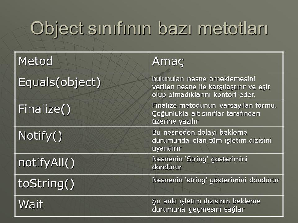 Object sınıfı  'object' sınıfı, tüm sınıfların üst sınıfıdır.