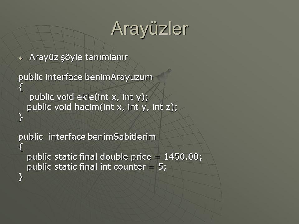 Dizgi sınıfının metodları  toCharArray() String text = new String( Hello World );String text = new String( Hello World ); Char textArray[] = text.toCharArray();Char textArray[] = text.toCharArray();  indexOf() String text = new String( Hello World );String text = new String( Hello World ); int index1 = text.indexOf( n );int index1 = text.indexOf( n );  toUpperCase() Text.toUpperCase();Text.toUpperCase();  toLowerCase() Text.toLowerCase();Text.toLowerCase();  Trim() String bos = new String( Bosluklar );String bos = new String( Bosluklar ); System.out.println(bos);System.out.println(bos); System.out.println(bos.trim());System.out.println(bos.trim());  Equals() Boolean flag = name1.equals(name2);Boolean flag = name1.equals(name2);