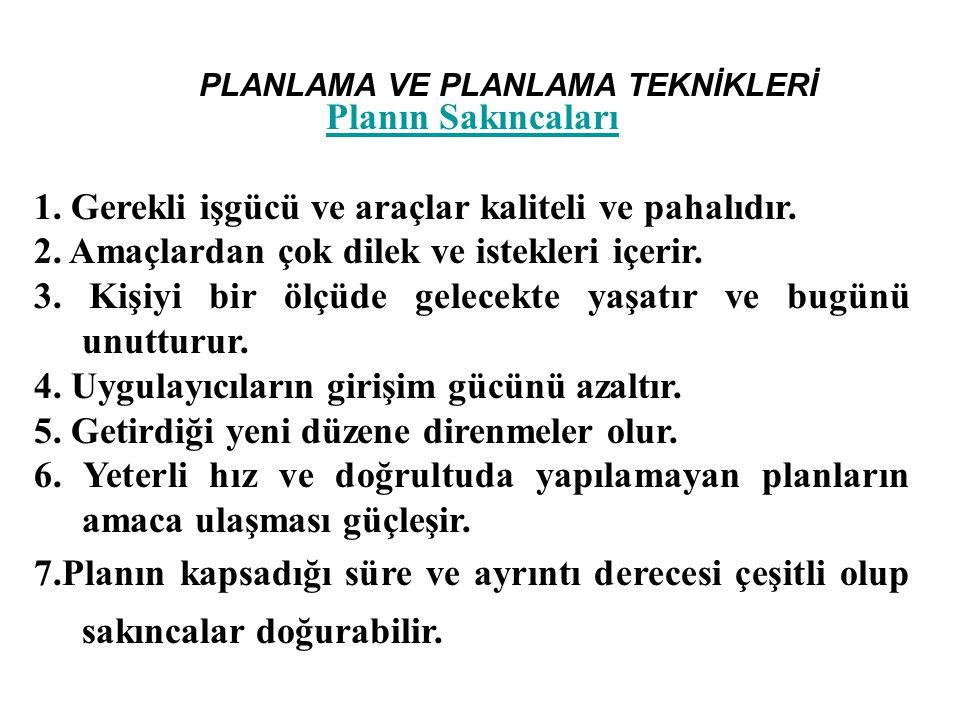 PLANLAMA VE PLANLAMA TEKNİKLERİ Yönetici Açısından Serimlerle Planlama 1.
