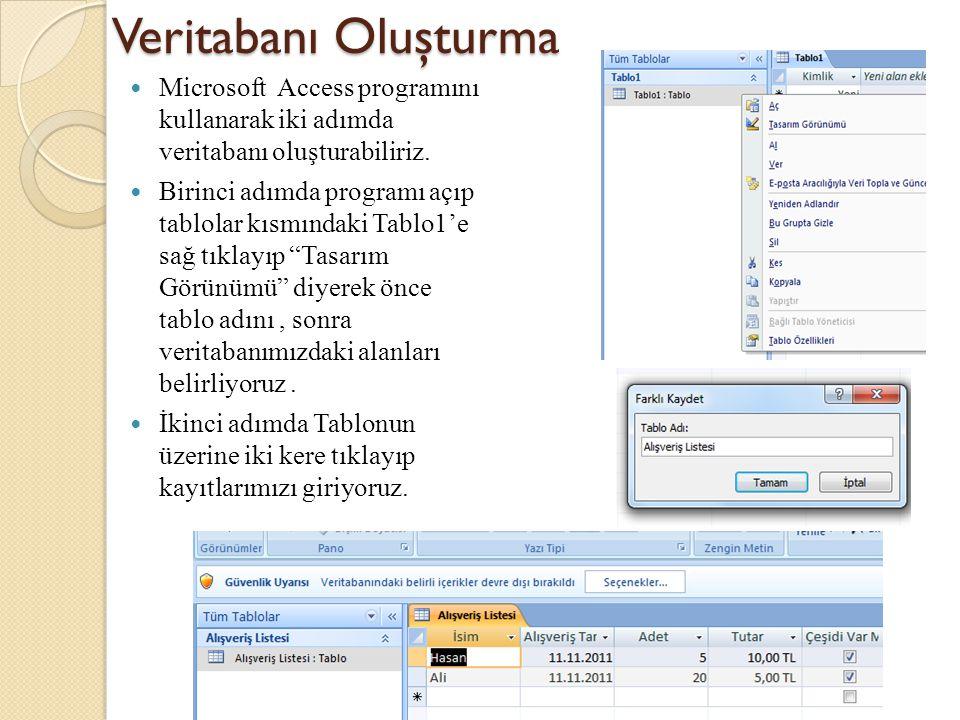 Veritabanı Oluşturma Microsoft Access programını kullanarak iki adımda veritabanı oluşturabiliriz.