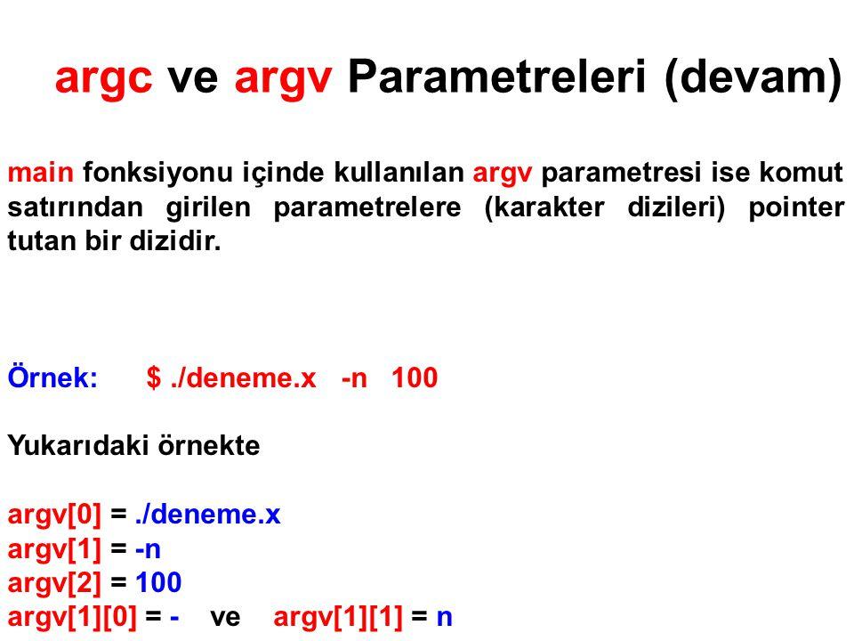 ÖRNEK Aşağıdaki kod parçası komut satırından çalıştırılan bir C++ programının argümanlarını ekrana basar.