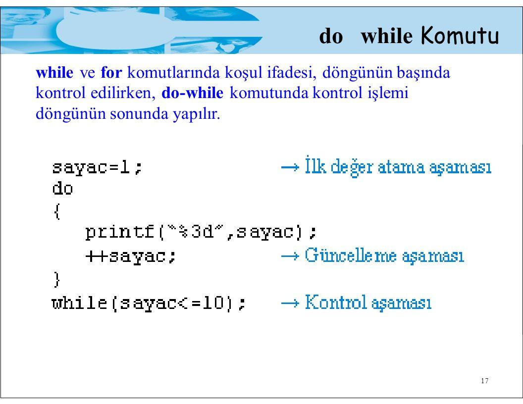 do while Komutu while ve for komutlarında koşul ifadesi, döngünün başında kontrol edilirken, do-while komutunda kontrol işlemi döngünün sonunda yapılır.