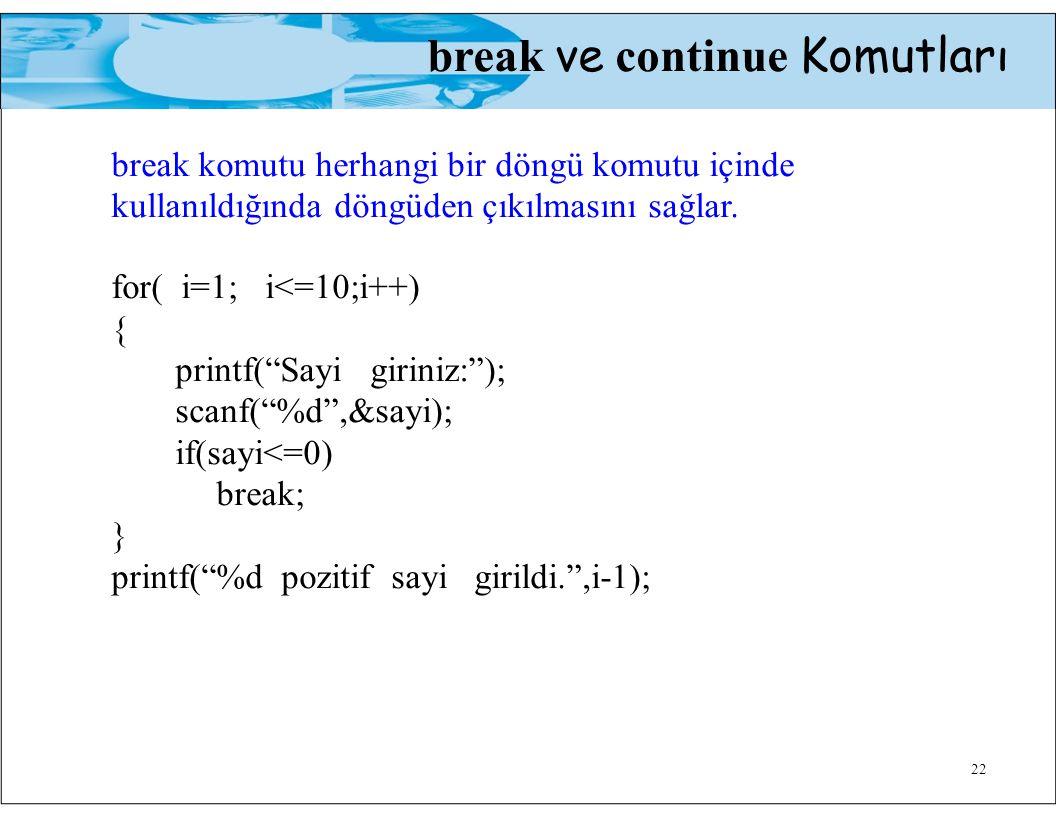 22 break ve continue Komutları break komutu herhangi bir döngü komutu içinde kullanıldığında döngüden çıkılmasını sağlar.