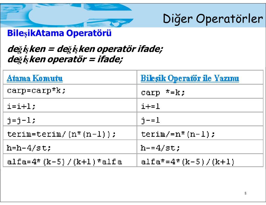 Diğer Operatörler Bile ş ikAtama Operatörü de ğ i ş ken = de ğ i ş ken operatör ifade; de ğ i ş ken operatör = ifade; 8