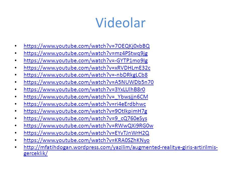 Videolar https://www.youtube.com/watch?v=7OEQKj0xbBQ https://www.youtube.com/watch?v=mz4PStwq9jg https://www.youtube.com/watch?v=-GYTP1mo9Ig https://w