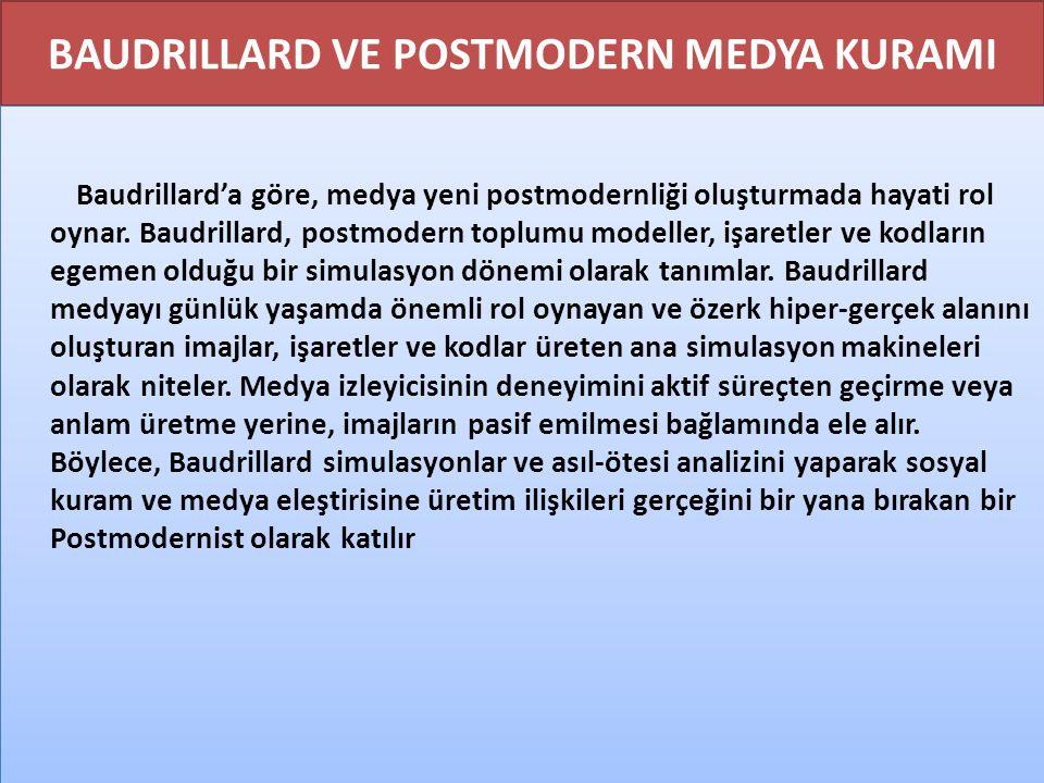 BAUDRILLARD VE POSTMODERN MEDYA KURAMI Baudrillard'a göre, medya yeni postmodernliği oluşturmada hayati rol oynar. Baudrillard, postmodern toplumu mod