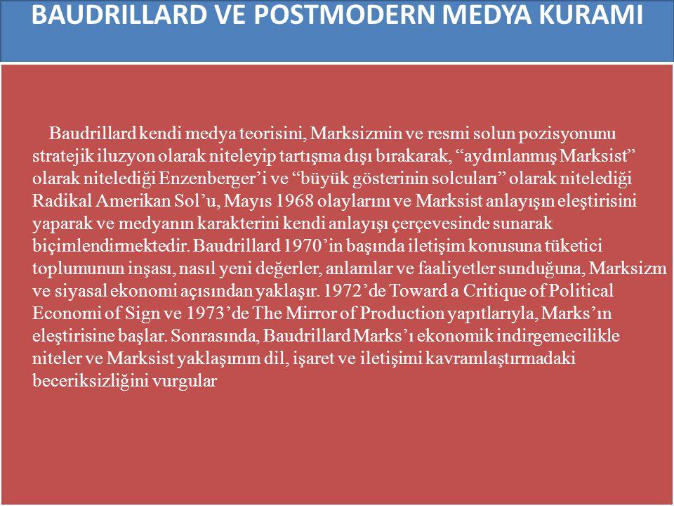 BAUDRILLARD VE POSTMODERN MEDYA KURAMI Baudrillard kendi medya teorisini, Marksizmin ve resmi solun pozisyonunu stratejik iluzyon olarak niteleyip tar