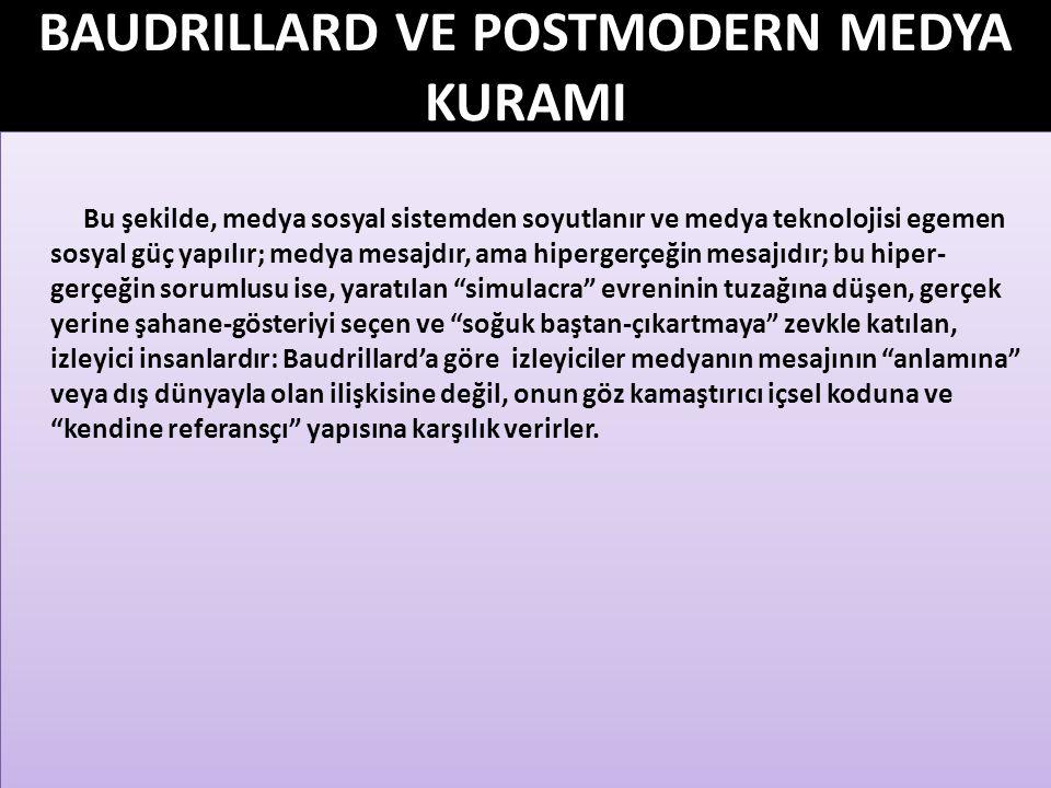BAUDRILLARD VE POSTMODERN MEDYA KURAMI Bu yorumlamayla, Baudrillard kitlelerin mücadele gücünü ve örgütlenme olasılığını yitirdiğini ima etmektedir.