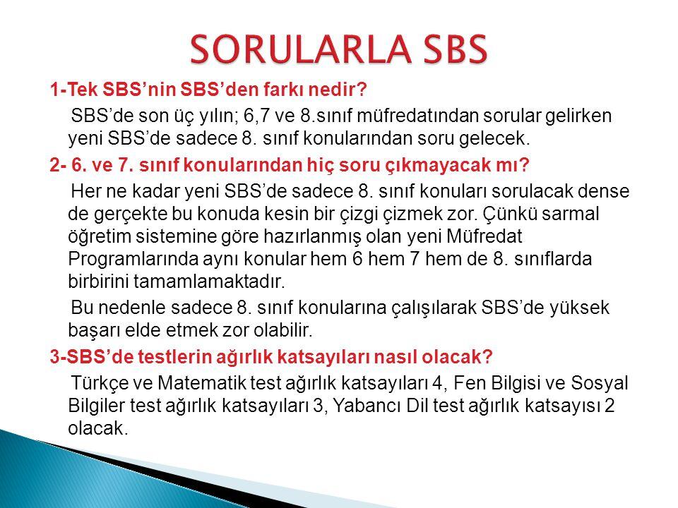 1-Tek SBS'nin SBS'den farkı nedir.