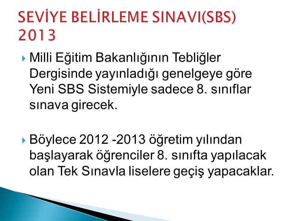  Milli Eğitim Bakanlığının Tebliğler Dergisinde yayınladığı genelgeye göre Yeni SBS Sistemiyle sadece 8.