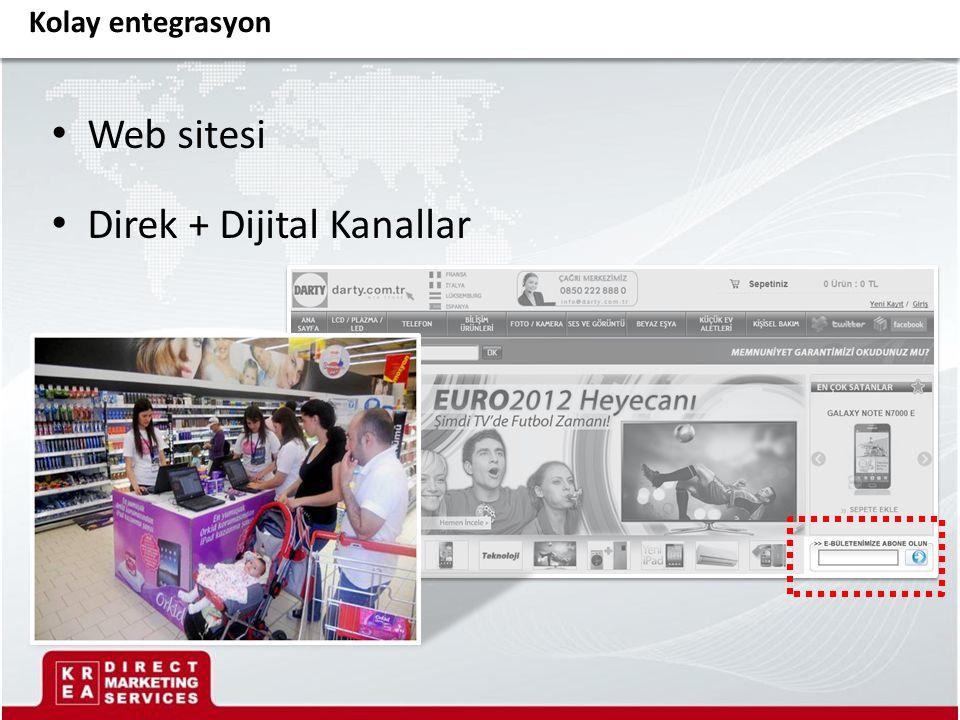 Web sitesi Direk + Dijital Kanallar Kolay entegrasyon
