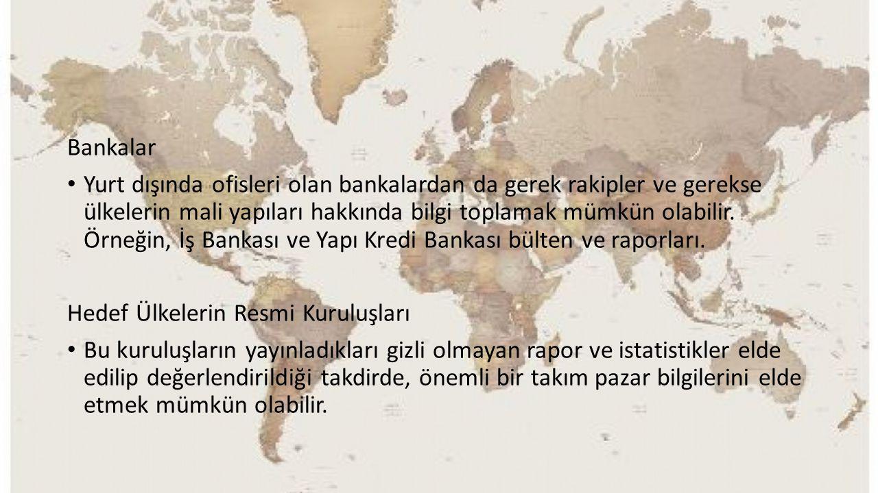 Bankalar Yurt dışında ofisleri olan bankalardan da gerek rakipler ve gerekse ülkelerin mali yapıları hakkında bilgi toplamak mümkün olabilir. Örneğin