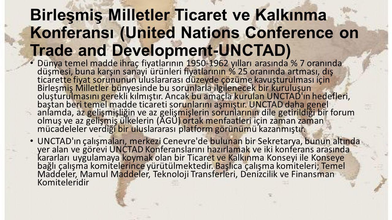 Birleşmiş Milletler Ticaret ve Kalkınma Konferansı (United Nations Conference on Trade and Development-UNCTAD) Dünya temel madde ihraç fiyatlarının 19