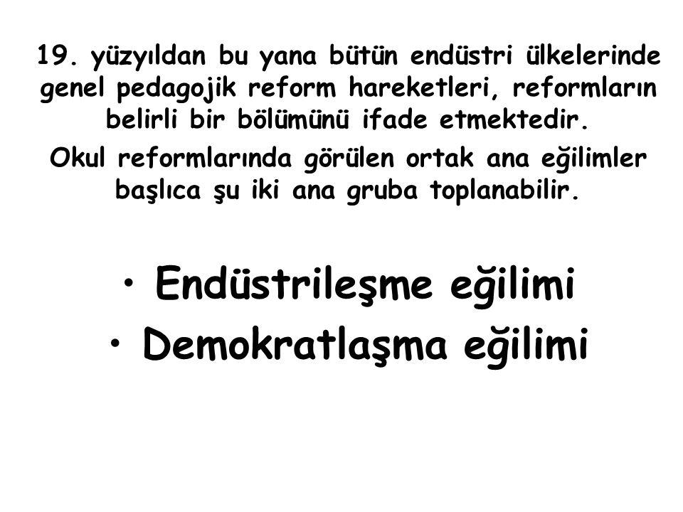 19. yüzyıldan bu yana bütün endüstri ülkelerinde genel pedagojik reform hareketleri, reformların belirli bir bölümünü ifade etmektedir. Okul reformlar