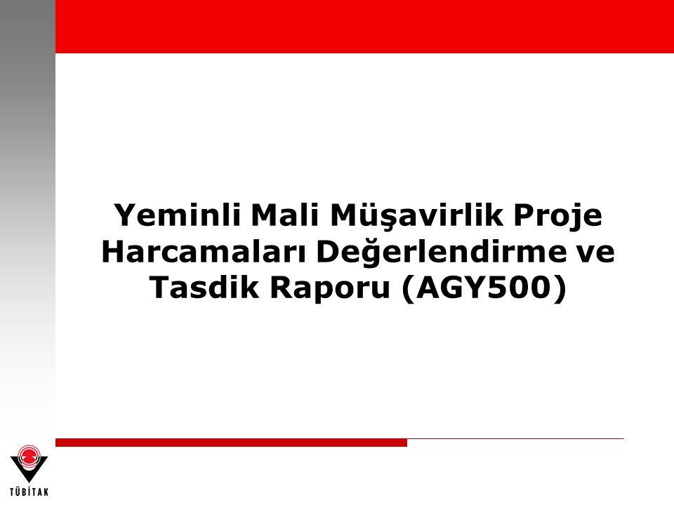 Yeminli Mali Müşavirlik Proje Harcamaları Değerlendirme ve Tasdik Raporu (AGY500)