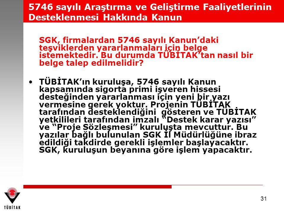 31 SGK, firmalardan 5746 sayılı Kanun'daki teşviklerden yararlanmaları için belge istemektedir. Bu durumda TÜBİTAK'tan nasıl bir belge talep edilmelid