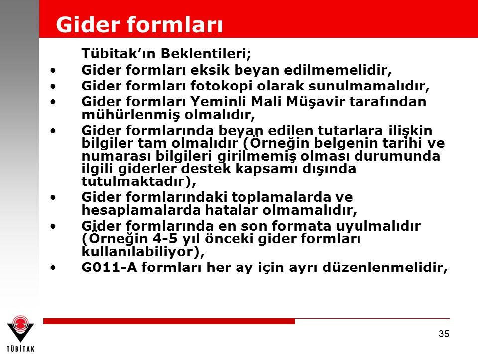 35 Tübitak'ın Beklentileri; Gider formları eksik beyan edilmemelidir, Gider formları fotokopi olarak sunulmamalıdır, Gider formları Yeminli Mali Müşav