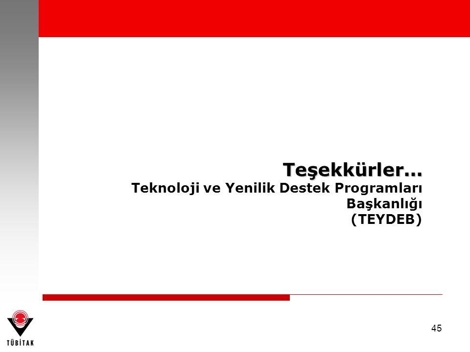 45 Teşekkürler... Teknoloji ve Yenilik Destek Programları Başkanlığı (TEYDEB)