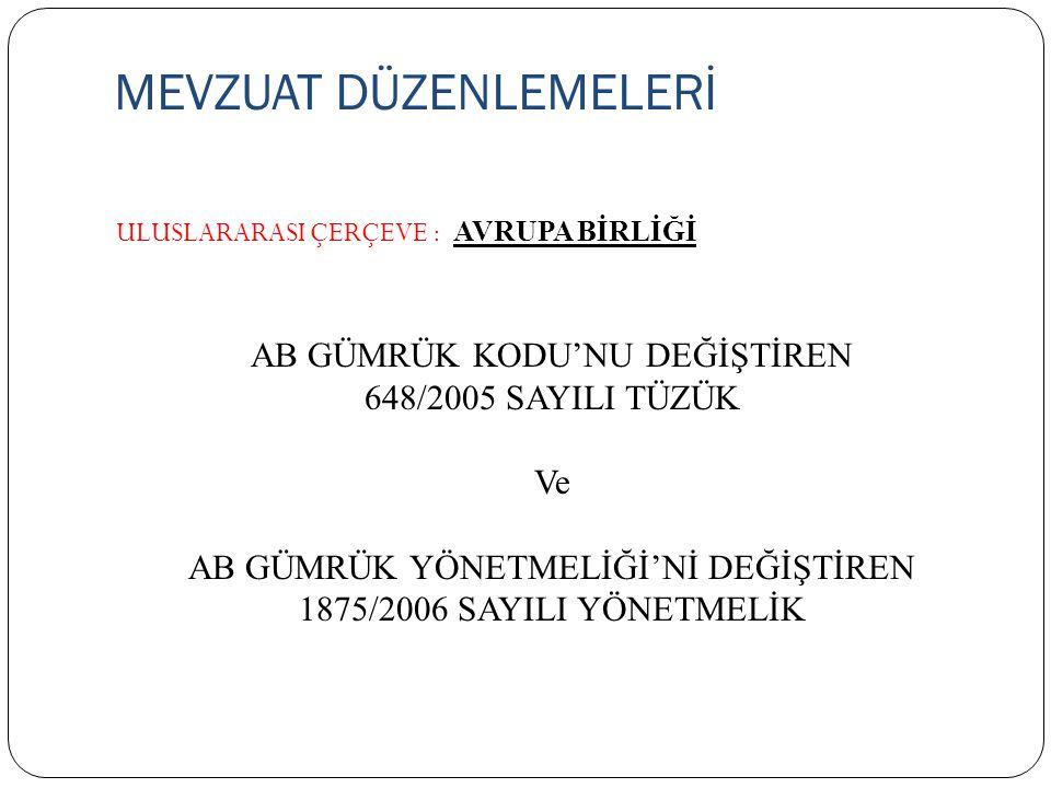 MEVZUAT DÜZENLEMELERİ ULUSLARARASI ÇERÇEVE : AVRUPA BİRLİĞİ AB GÜMRÜK KODU'NU DEĞİŞTİREN 648/2005 SAYILI TÜZÜK Ve AB GÜMRÜK YÖNETMELİĞİ'Nİ DEĞİŞTİREN 1875/2006 SAYILI YÖNETMELİK