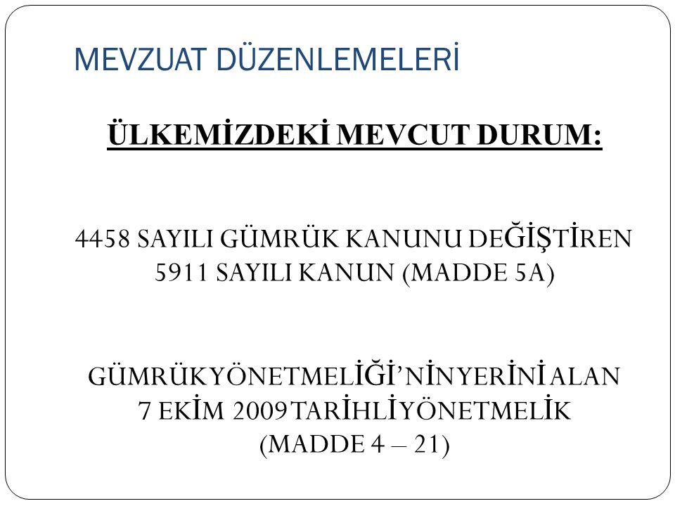 MEVZUAT DÜZENLEMELERİ ÜLKEMİZDEKİ MEVCUT DURUM: 4458 SAYILI GÜMRÜK KANUNU DE ĞİŞ T İ REN 5911 SAYILI KANUN (MADDE 5A) GÜMRÜK YÖNETMEL İĞİ 'N İ N YER İ N İ ALAN 7 EK İ M 2009 TAR İ HL İ YÖNETMEL İ K (MADDE 4 – 21)