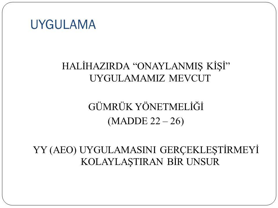"""UYGULAMA HALİHAZIRDA """"ONAYLANMIŞ KİŞİ"""" UYGULAMAMIZ MEVCUT GÜMRÜK YÖNETMELİĞİ (MADDE 22 – 26) YY (AEO) UYGULAMASINI GERÇEKLEŞTİRMEYİ KOLAYLAŞTIRAN BİR"""