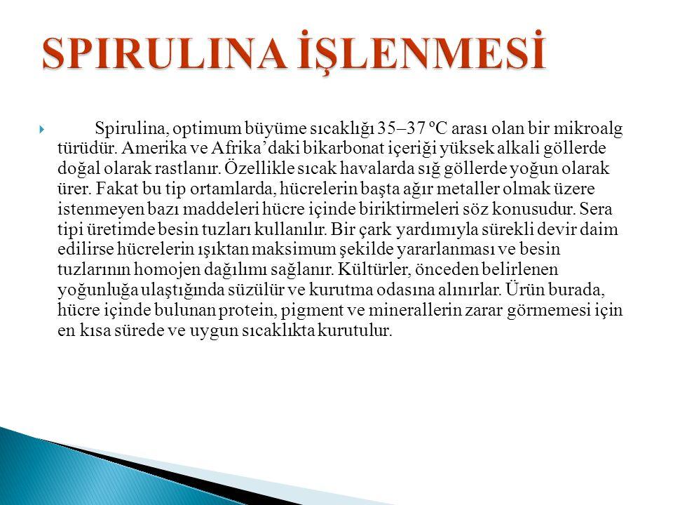  Spirulina, optimum büyüme sıcaklığı 35–37 ºC arası olan bir mikroalg türüdür. Amerika ve Afrika'daki bikarbonat içeriği yüksek alkali göllerde doğal