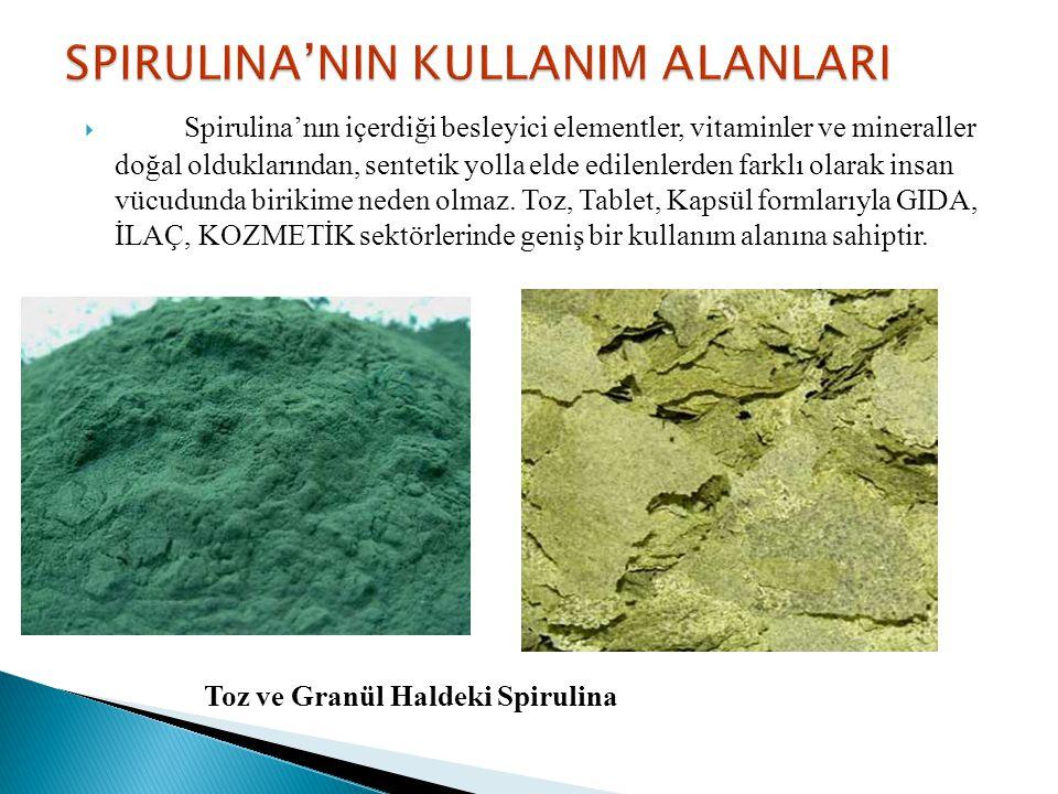  Spirulina'nın içerdiği besleyici elementler, vitaminler ve mineraller doğal olduklarından, sentetik yolla elde edilenlerden farklı olarak insan vücu