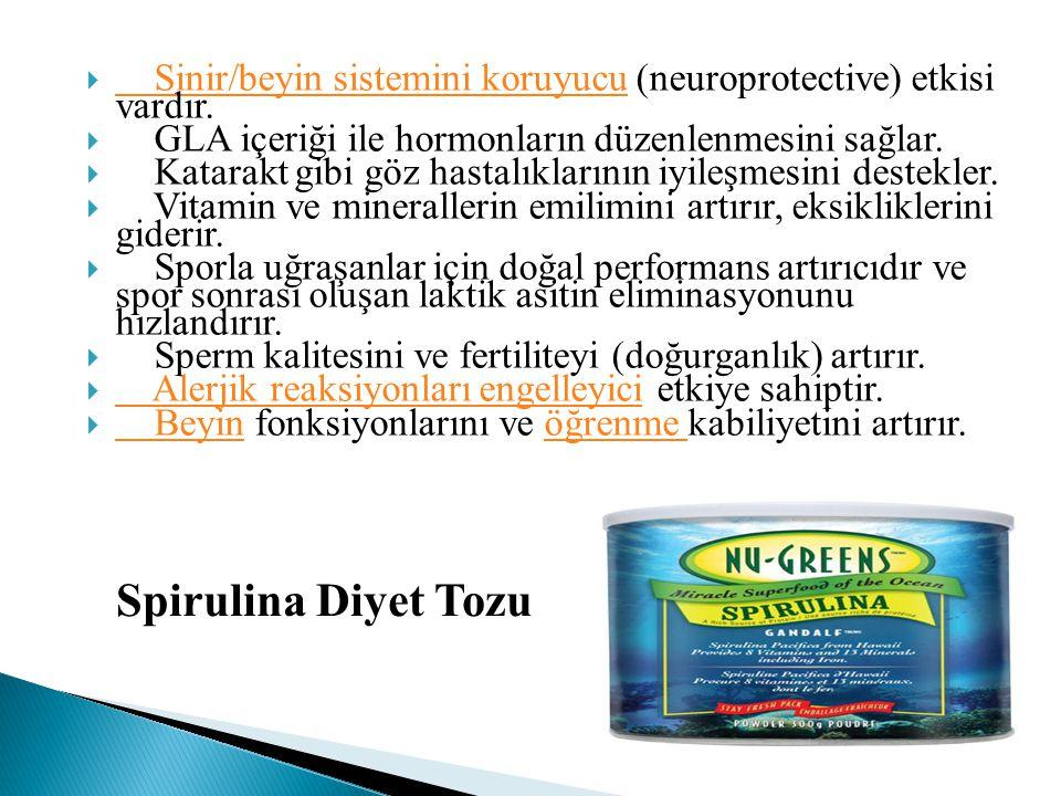  Sinir/beyin sistemini koruyucu (neuroprotective) etkisi vardır. Sinir/beyin sistemini koruyucu  GLA içeriği ile hormonların düzenlenmesini sağlar.