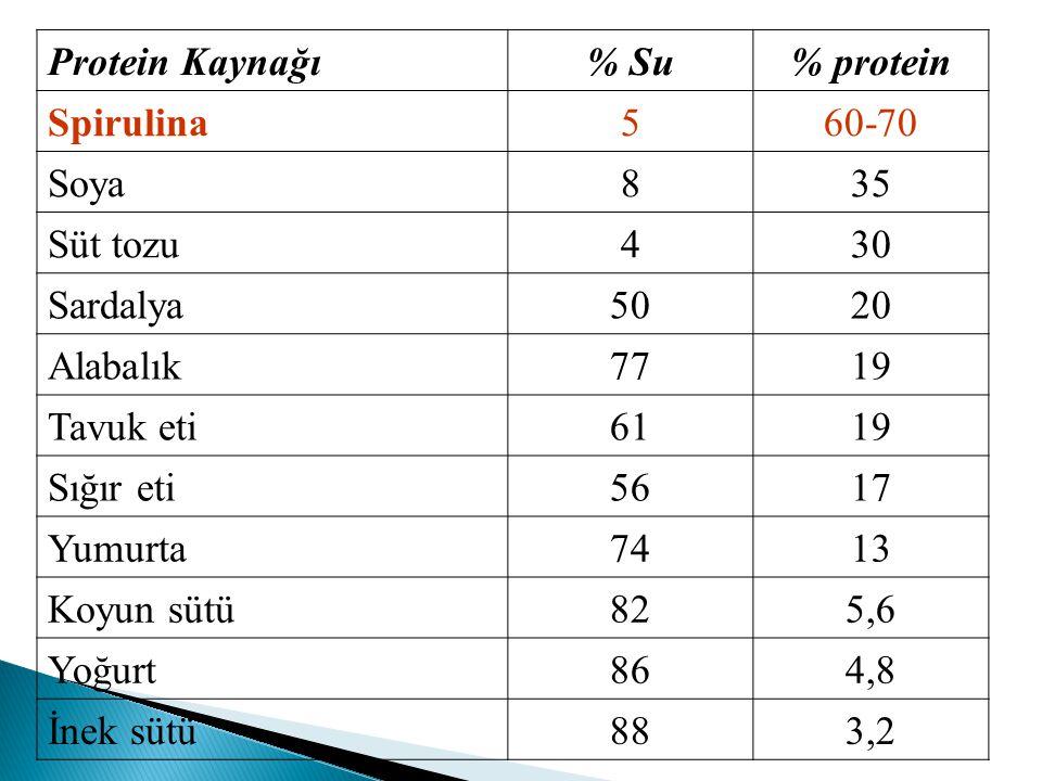 Protein Kaynağı% Su% protein Spirulina560-70 Soya835 Süt tozu430 Sardalya5020 Alabalık7719 Tavuk eti 6119 Sığır eti5617 Yumurta7413 Koyun sütü825,6 Yo