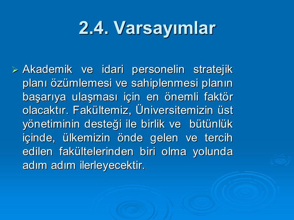 2.4. Varsayımlar  Akademik ve idari personelin stratejik planı özümlemesi ve sahiplenmesi planın başarıya ulaşması için en önemli faktör olacaktır. F