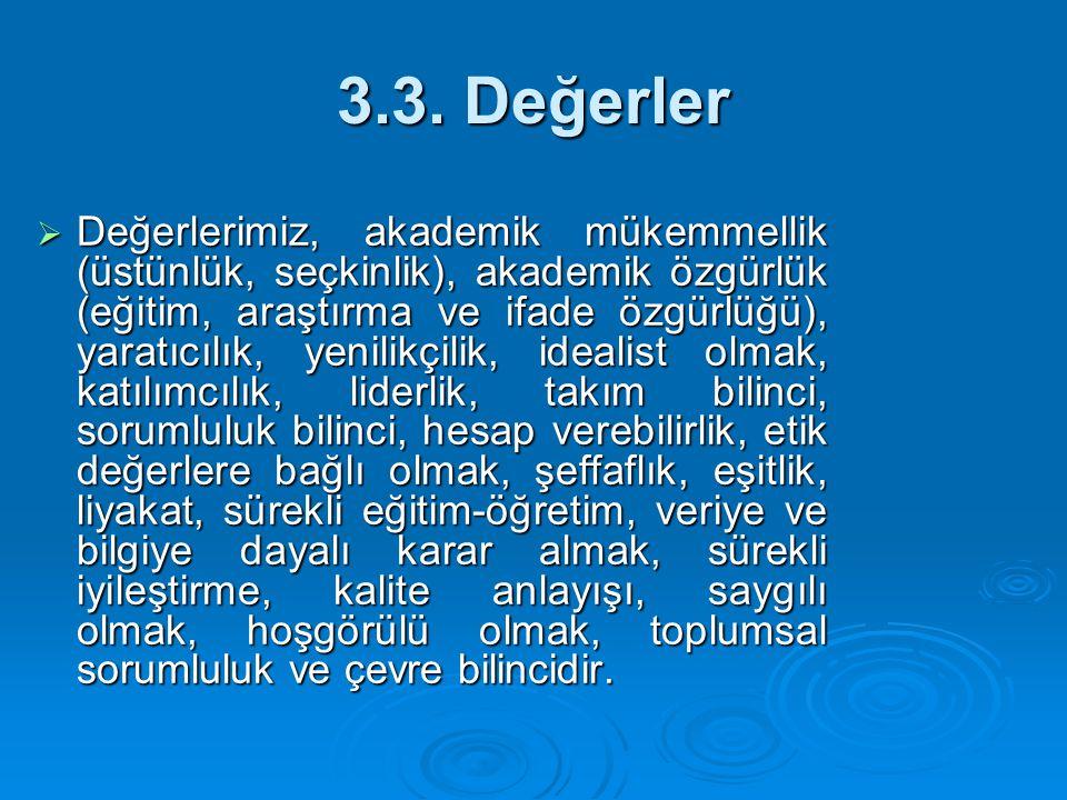 3.3. Değerler  Değerlerimiz, akademik mükemmellik (üstünlük, seçkinlik), akademik özgürlük (eğitim, araştırma ve ifade özgürlüğü), yaratıcılık, yenil
