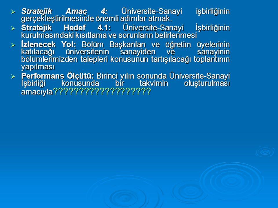  Stratejik Amaç 4: Üniversite-Sanayi işbirliğinin gerçekleştirilmesinde önemli adımlar atmak.  Stratejik Hedef 4.1: Üniversite-Sanayi İşbirliğinin k