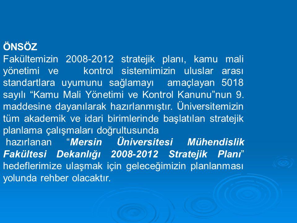 ÖNSÖZ Fakültemizin 2008-2012 stratejik planı, kamu mali yönetimi ve kontrol sistemimizin uluslar arası standartlara uyumunu sağlamayı amaçlayan 5018 s