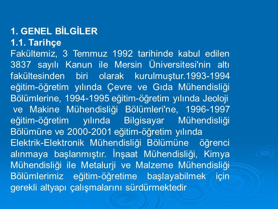 1. GENEL BİLGİLER 1.1. Tarihçe Fakültemiz, 3 Temmuz 1992 tarihinde kabul edilen 3837 sayılı Kanun ile Mersin Üniversitesi'nin altı fakültesinden biri