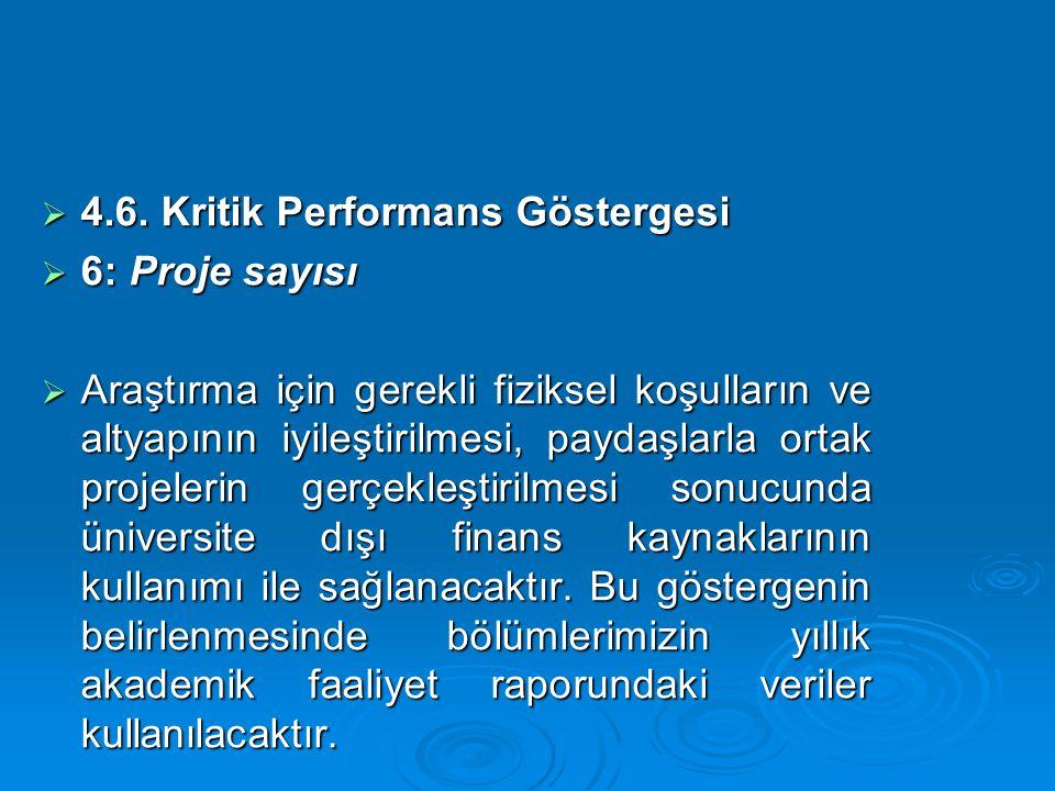  4.6. Kritik Performans Göstergesi  6: Proje sayısı  Araştırma için gerekli fiziksel koşulların ve altyapının iyileştirilmesi, paydaşlarla ortak pr