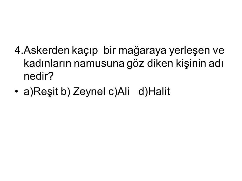 4.Askerden kaçıp bir mağaraya yerleşen ve kadınların namusuna göz diken kişinin adı nedir? a)Reşit b) Zeynel c)Ali d)Halit