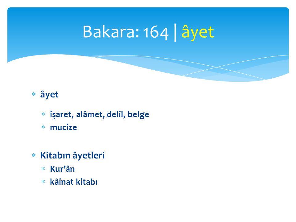  âyet  işaret, alâmet, delil, belge  mucize  Kitabın âyetleri  Kur'ân  kâinat kitabı Bakara: 164 | âyet