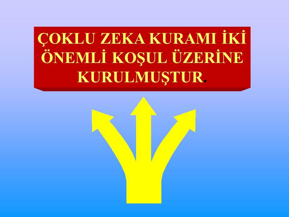 ÇOKLU ZEKA KURAMI İKİ ÖNEMLİ KOŞUL ÜZERİNE KURULMUŞTUR.