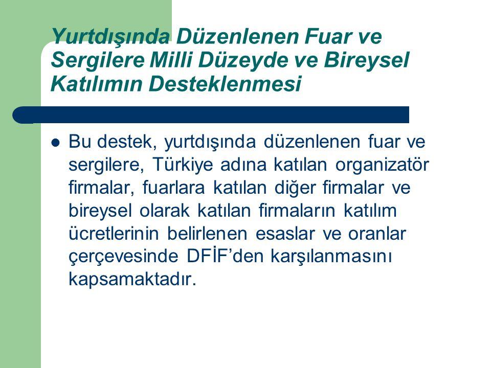 Yurtdışında Düzenlenen Fuar ve Sergilere Milli Düzeyde ve Bireysel Katılımın Desteklenmesi Bu destek, yurtdışında düzenlenen fuar ve sergilere, Türkiy