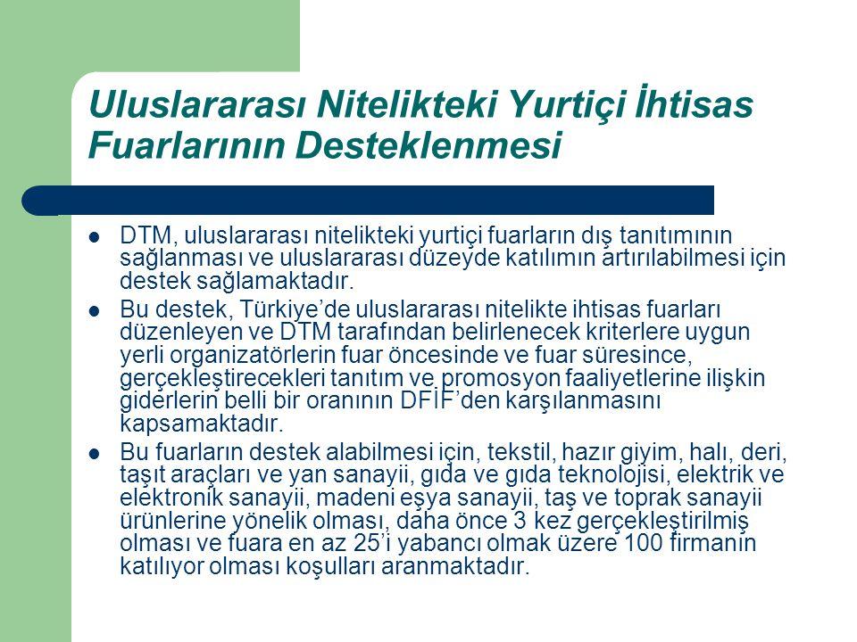 Uluslararası Nitelikteki Yurtiçi İhtisas Fuarlarının Desteklenmesi DTM, uluslararası nitelikteki yurtiçi fuarların dış tanıtımının sağlanması ve ulusl