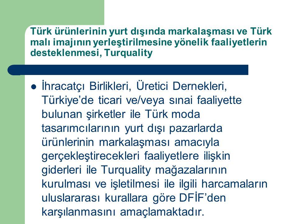 Türk ürünlerinin yurt dışında markalaşması ve Türk malı imajının yerleştirilmesine yönelik faaliyetlerin desteklenmesi, Turquality İhracatçı Birlikler