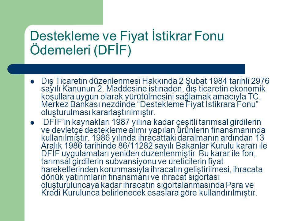 Destekleme ve Fiyat İstikrar Fonu Ödemeleri (DFİF) Dış Ticaretin düzenlenmesi Hakkında 2 Şubat 1984 tarihli 2976 sayılı Kanunun 2. Maddesine istinaden