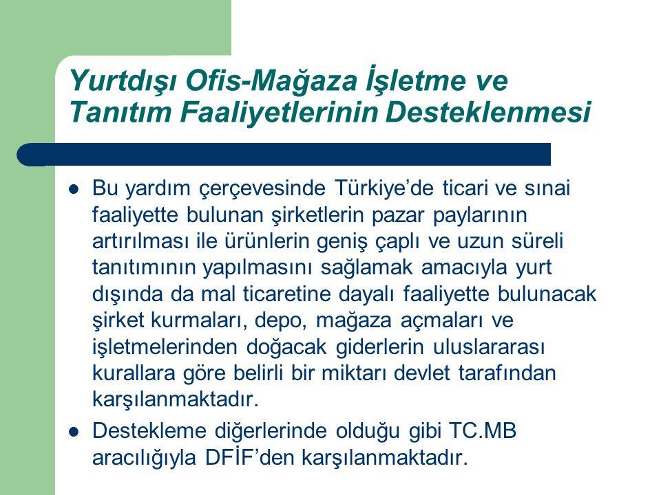 Yurtdışı Ofis-Mağaza İşletme ve Tanıtım Faaliyetlerinin Desteklenmesi Bu yardım çerçevesinde Türkiye'de ticari ve sınai faaliyette bulunan şirketlerin