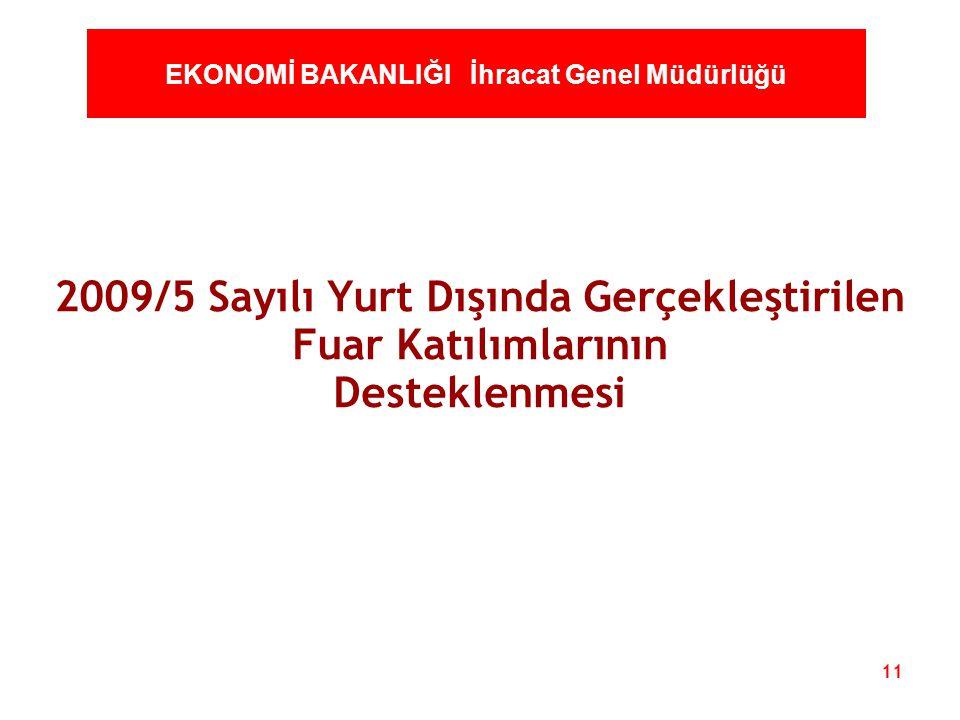 11 EKONOMİ BAKANLIĞI İhracat Genel Müdürlüğü 2009/5 Sayılı Yurt Dışında Gerçekleştirilen Fuar Katılımlarının Desteklenmesi