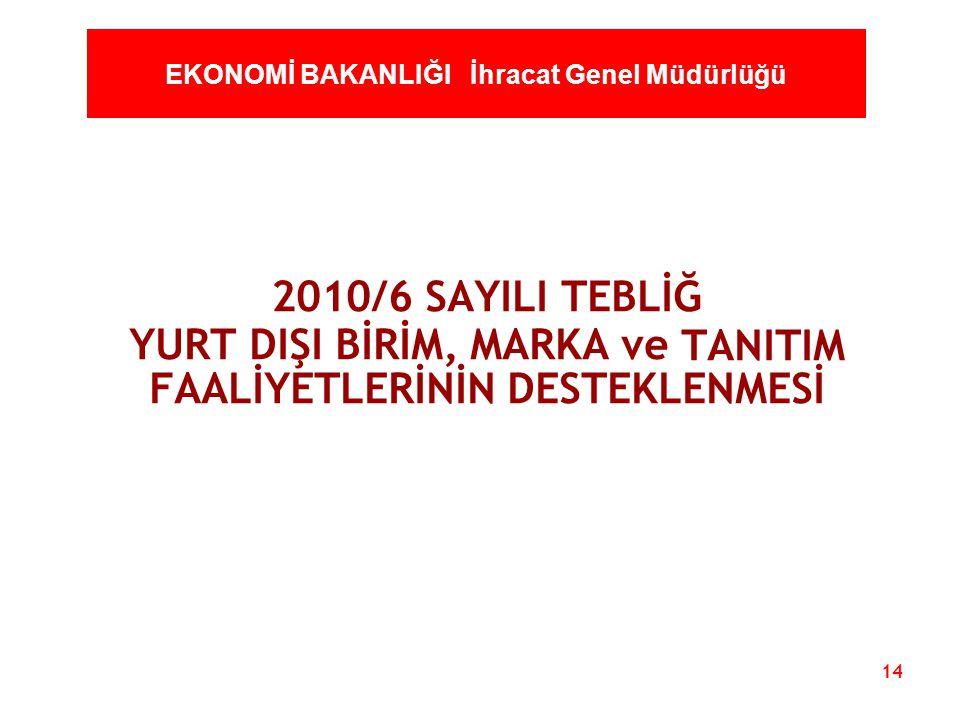 14 EKONOMİ BAKANLIĞI İhracat Genel Müdürlüğü 2010/6 SAYILI TEBLİĞ YURT DIŞI BİRİM, MARKA ve TANITIM FAALİYETLERİNİN DESTEKLENMESİ