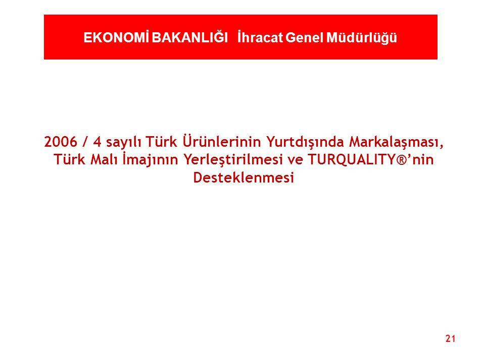 21 EKONOMİ BAKANLIĞI İhracat Genel Müdürlüğü 2006 / 4 sayılı Türk Ürünlerinin Yurtdışında Markalaşması, Türk Malı İmajının Yerleştirilmesi ve TURQUALI